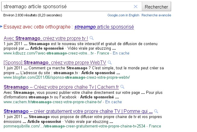 Google : article sponsorisé