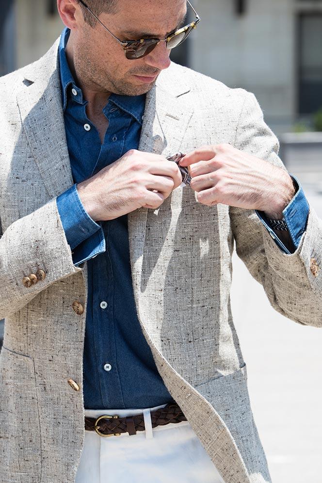 light-tan-linen-blazer-blue-denim-shirt-white-dress-pants-tods-driving-loafers-mens-summer-outfit-ideas-11
