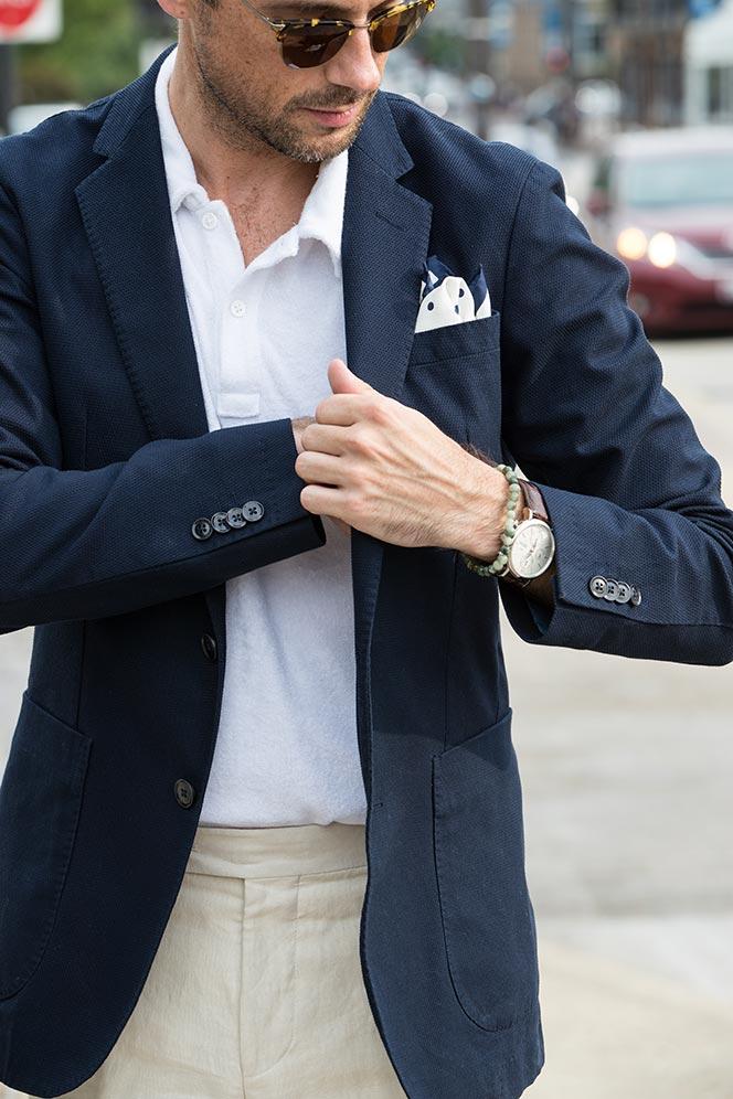 polo shirt under blazer