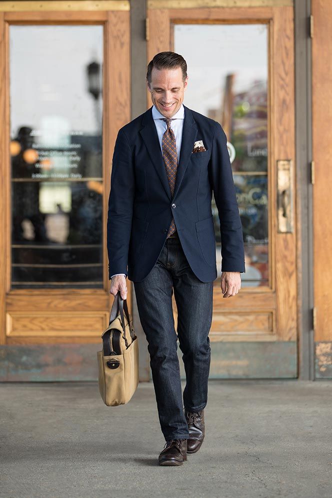 dark wash jeans business casual