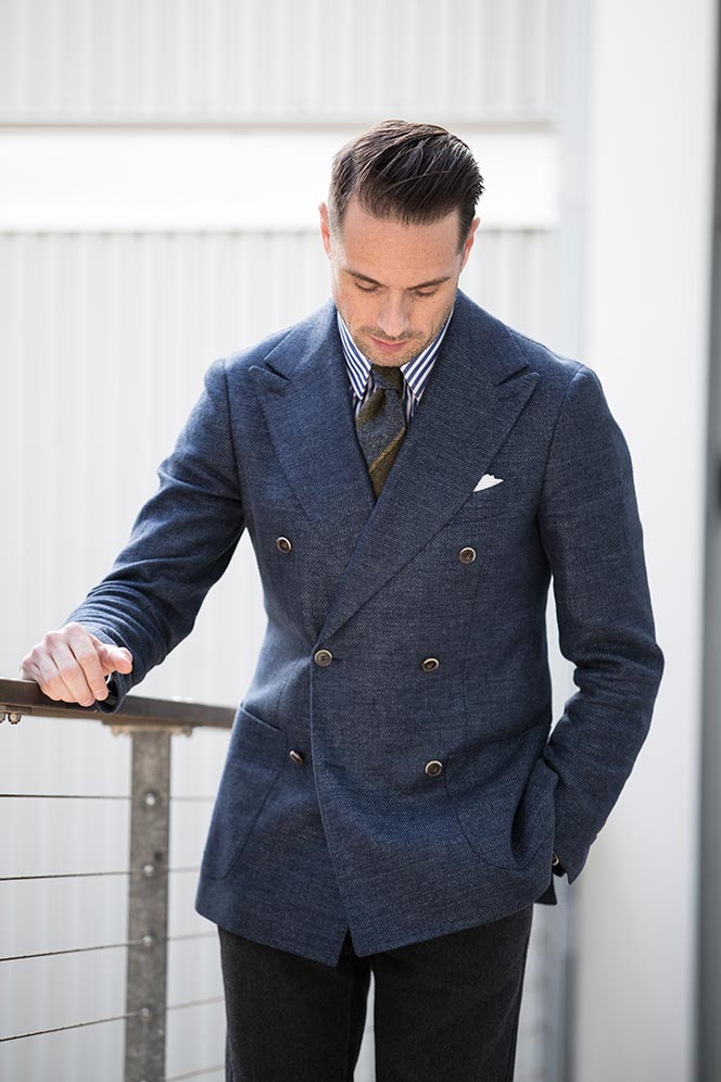 blue-green-striped-wool-tie-double-breasted-blazer-navy-dapper-mens-outfit-ideas-2