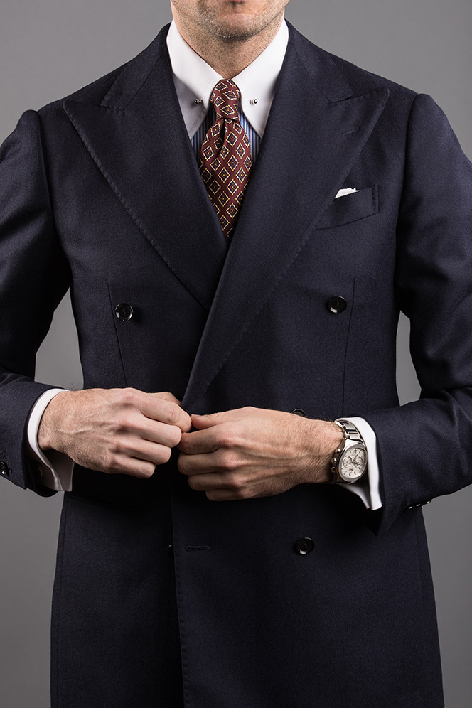 buttoning-navy-double-breasted-suit-pin-collar-shirt-french-cuff-shirt-red-medalion-tie-mens-business-outfit-ideas-1