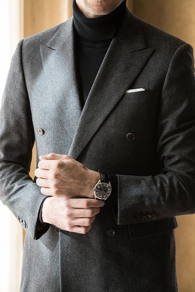 grey-double-breasted-suit-black-turtleneck-black-tie-no-tuxedo-alternative-outfit-idea-men-black-dial-cartier-drive-watch