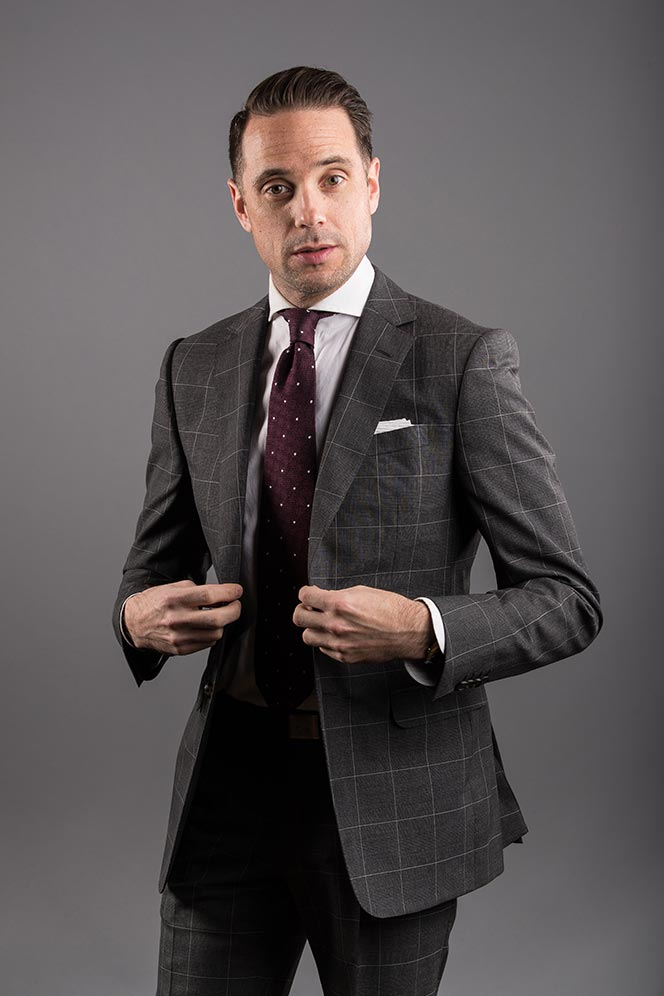 grey-windowpane-suit-red-dot-flap-pockets-mens-business-outfit-ideas