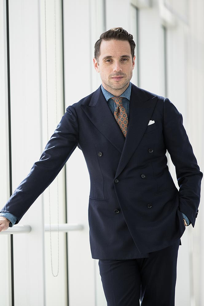 navy-double-breasted-suit-denim-shirt-orange-tie-mens-spring-work-business-outfit-ideas-11