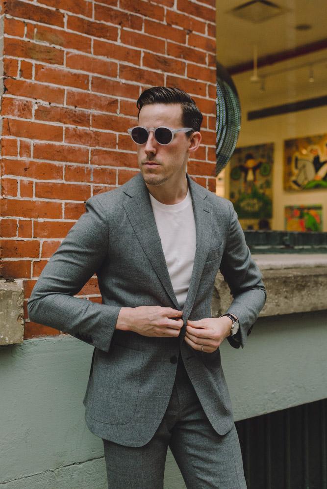 classic grey suit outfit idea 2019