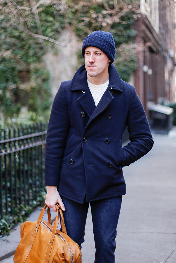 wool peacoat casual outfit