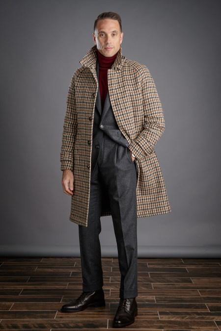 Brown Houndstooth Balmacaan Overcoat