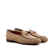 Brown Check Tweed Belgian Slipper