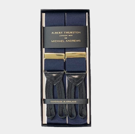 Midnight Blue Suspenders w/ Gold Hardware