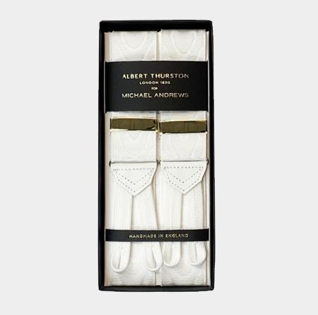 White Moiré Suspenders w/ Gold Hardware