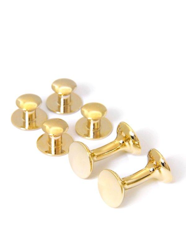 Round Yellow Gold Stud and Cufflink Set