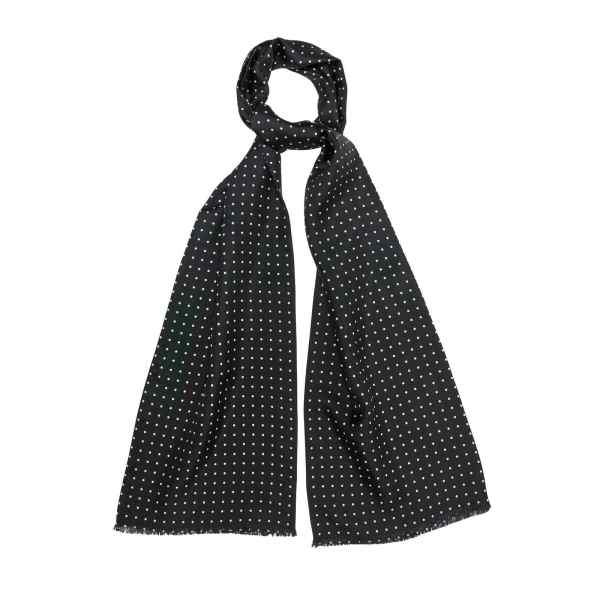 Black Silk Scarf with White Dots