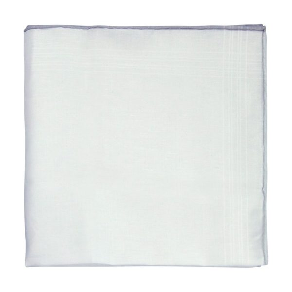 White Pocket Square with Grey Tipping
