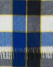 Cobalt White Yellow Framed Buffalo Check Cashmere Scarf