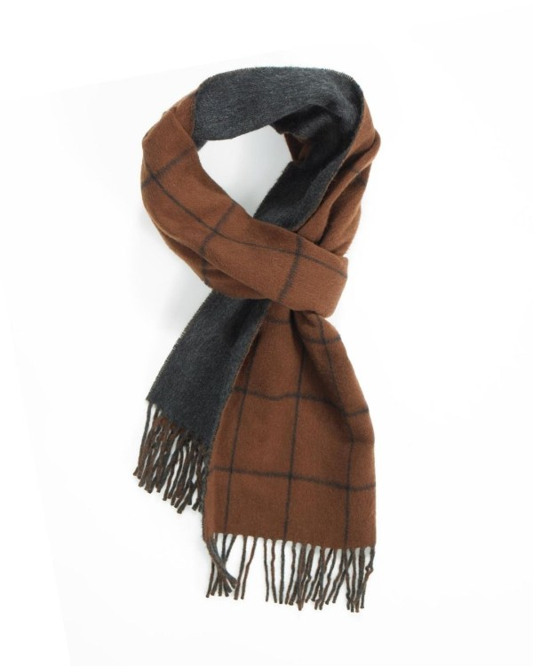 Rust Navy Grey Windowpane On Plain Double Faced Cashmere Scarf
