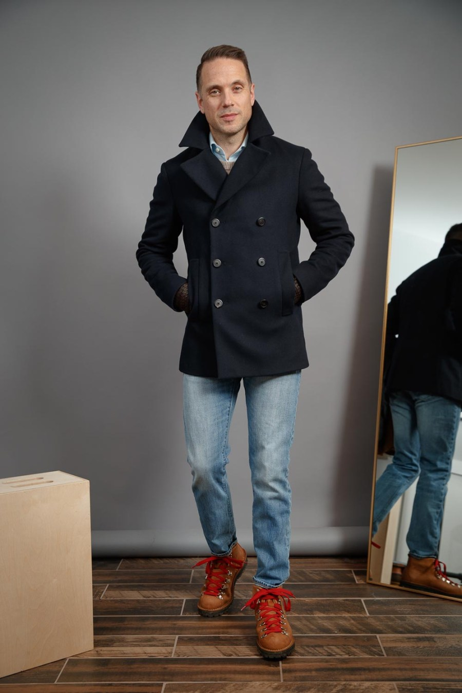 Navy-Peacoat-light-wash-jeans-boots-mens-winter-style-2021