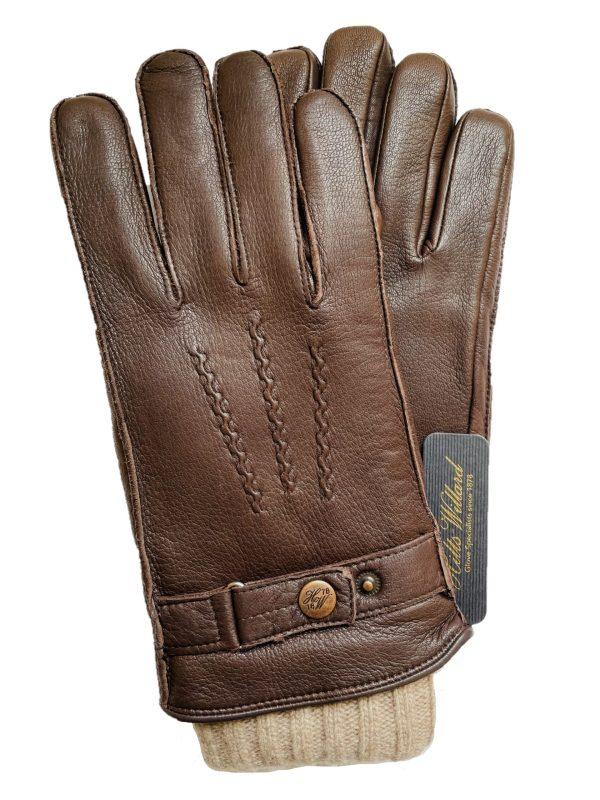 """""""3 in 1"""" Dark Brown Deerskin & Wool Gloves (S)"""