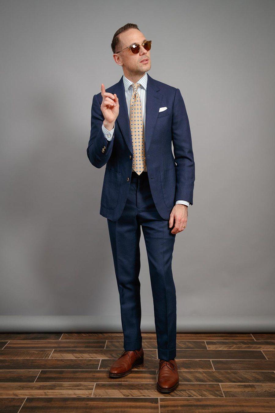 mens-essential-striped-dress-shirt-hopsack-suit-brown-derby-shoes-oliver-peoples-banks-sunglasses