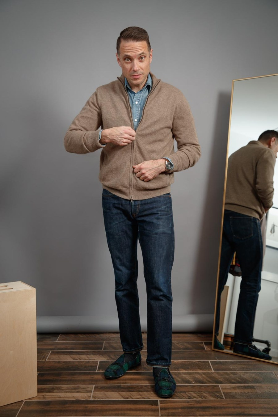 raw-denim-tan-cashmere-sweater-blackwatch-plaid-belgian-shoes-omega-speedmaster-casual-winter-outfit-for-men