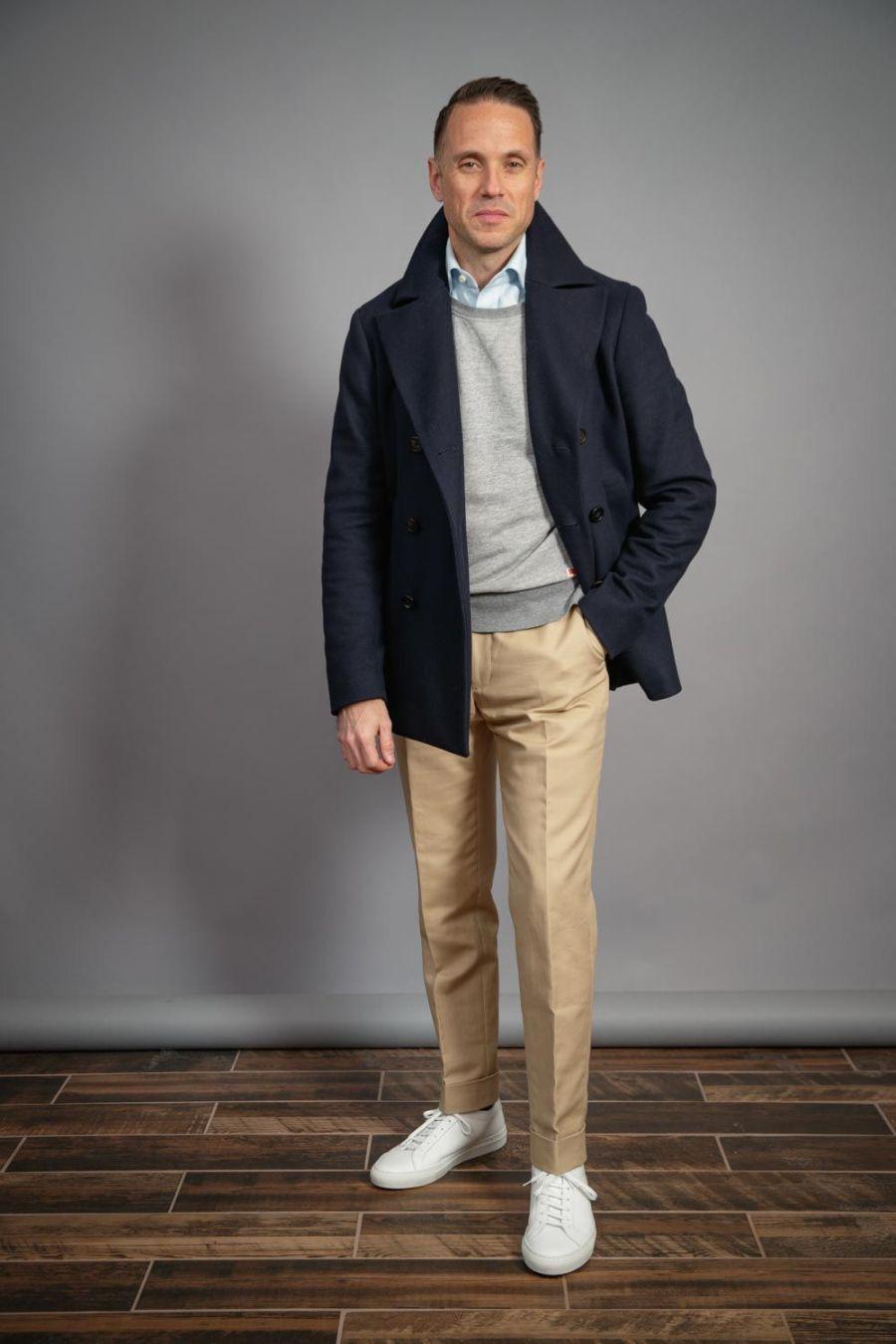 white-sneakers-khaki-chinos-navy-peacoat-grey-sweatshirt-winter-capsule-wardrobe-for-men