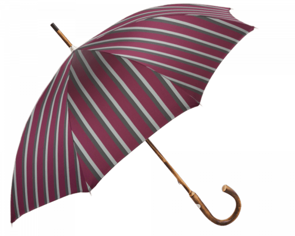 Red Stripe Umbrella with Solid Chestnut Handle