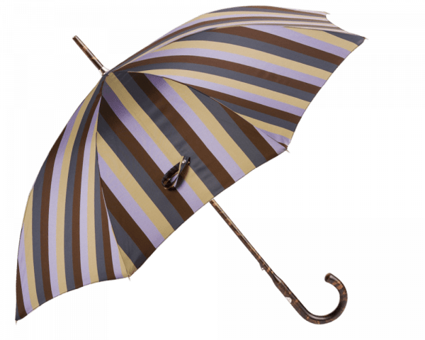 Brown, Lavender Wide Multicolor Awning Stripe Umbrella with Hickory Handle