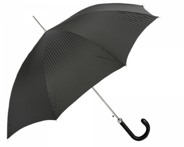 Black on Black Patterned Umbrella with Navy Padded Leather Handle