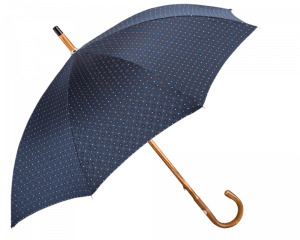 Navy Tie Print Umbrella with Solid Chestnut Handle
