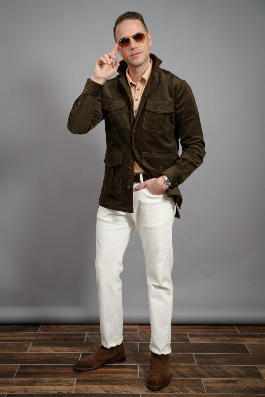melhor-camisa-jaqueta-para-homem-barraca -olive-veludo cotelê