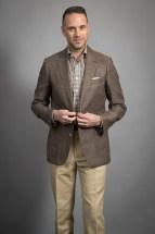 Brown Solid Wool Linen Sport Coat