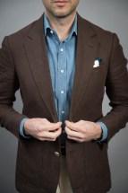Brown Solid Linen Sport Coat