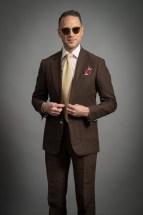 brown linen suit