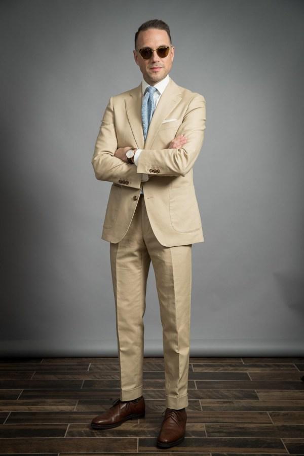 khaki cotton suit