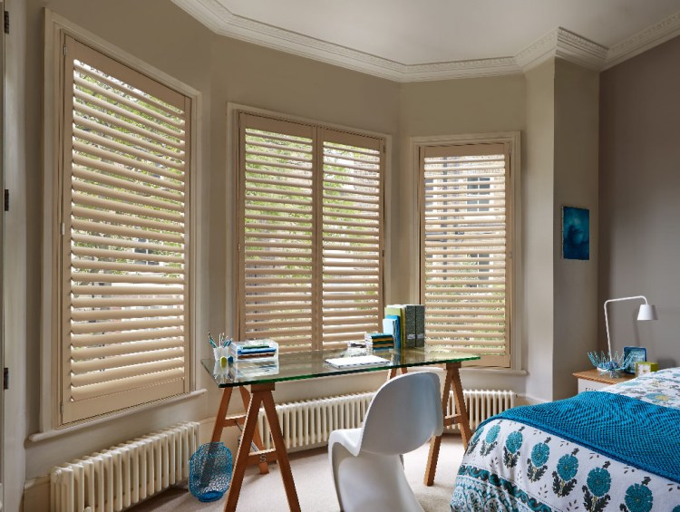 Installed shutters in bedroom