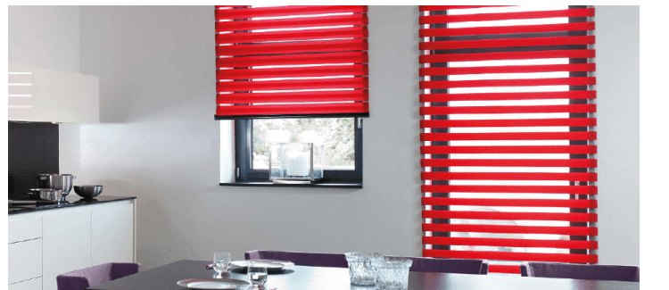 Red mirage blinds fitted in kitchen