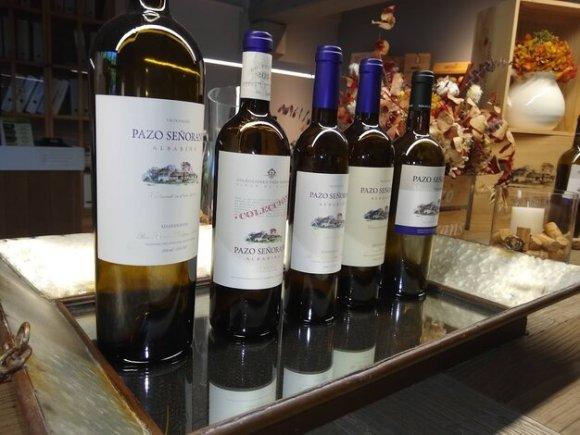 Weinflaschen Alvarinho Weintour Rias Baixas Galicien Weingut Pazo Senorans Sommeliere Isabel Gil Bed & Wine in Hessigheim Weinproben