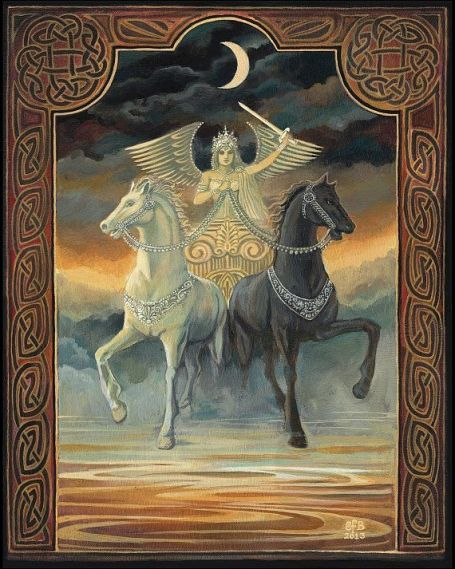 The black and white horses pull in different directions. This requires the Charioteer to exert immense control, confidence, and sense of purpose to bring the two back together to move forward in one direction.