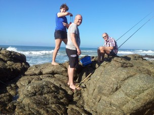 Rock fishing at Southport Beach