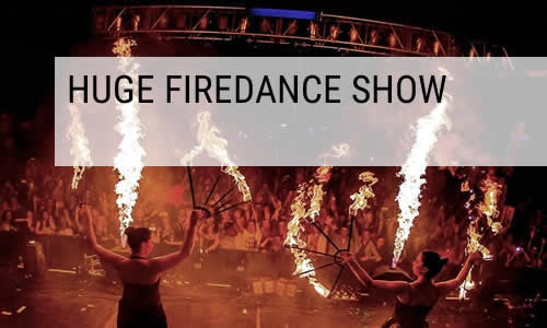 huge fire dance show