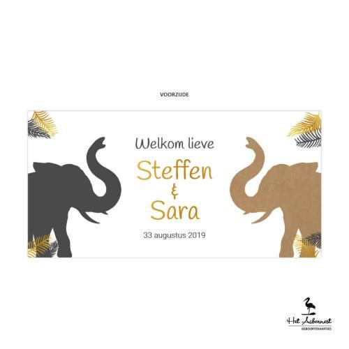 Steffen en Sara_liggende kaart, kraftlook met olifant jungle thema