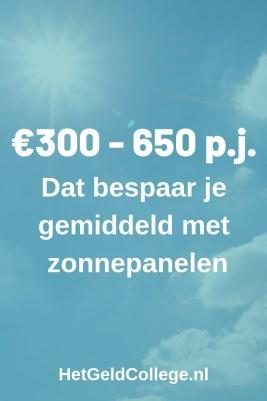 300-650 per jaar is wat je gemiddeld bespaart met zonnepanelen