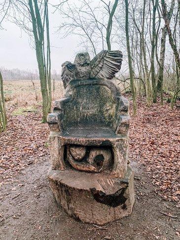 Het Gezinsleven - Uitstapjes - Natuur in Noord-Brabant - Speelbossen in Noord-Brabant - Nationaal Park De Groote Peel - Troon van hout