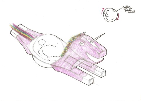 Tekening1: Capsule beweegd machine & bekleed met imaginaire omgeving