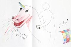 Tekening3: Hobbelende eenhoorn spuugt confetti en muziek knoppen