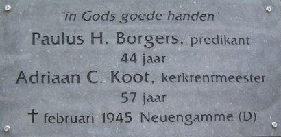 Gedenksteen voor ds. P.H. Borgers en A.C. Koot