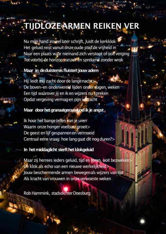 Gedicht op de achterkant van Minizine Belegerd&Bevrijd