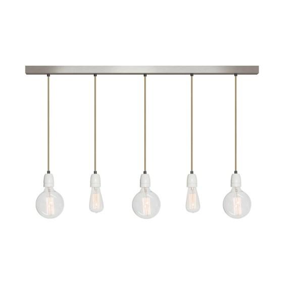 No.12 Hanglamp balk 5 lichts RVS