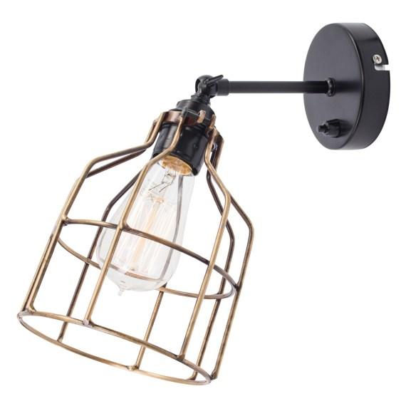 No.15 Wandlamp zwart met bronzen kooi