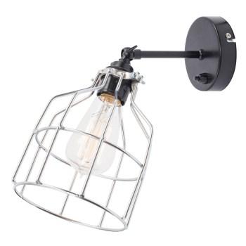 No.15 Wandlamp zwart met zilveren kooi